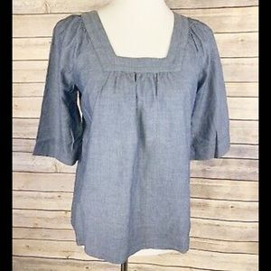 GAP Chambray Top Blue Square Neck Medium